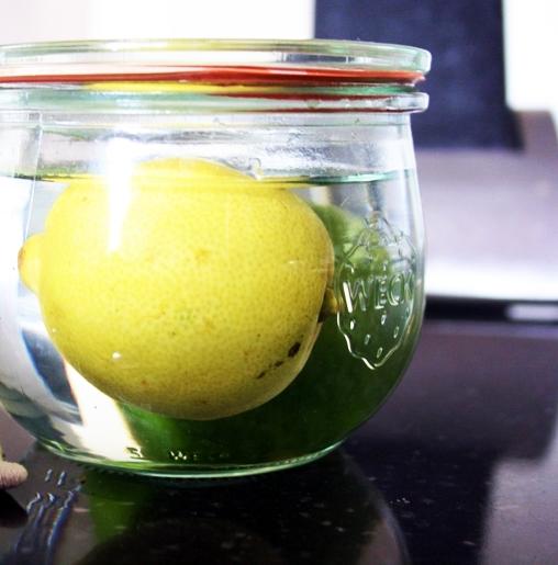 Zitrone und Limone in Wasser